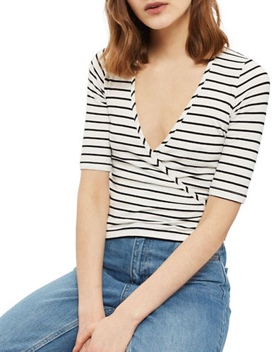 Topshop PETITE Stripe Wrap Top-MONOCHROME-UK 10/US 6