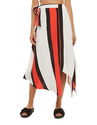 Topshop Stripe Asymmetric Midi Skirt-MULTI-UK 12/US 8