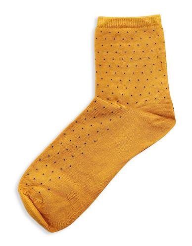 Topshop Polka Dot Ankle Socks-MUSTARD-One Size