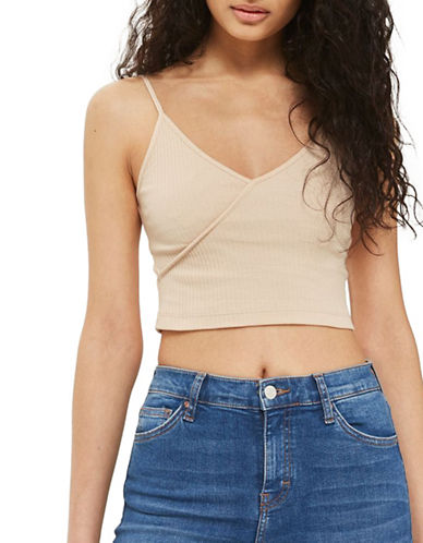 Topshop Strappy Crop Top-STONE-UK 12/US 8