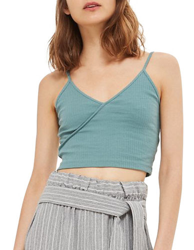 Topshop Strappy Crop Top-GREEN-UK 14/US 10