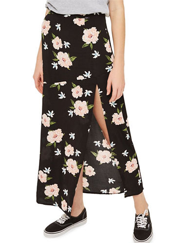 Topshop Split Floral Print Maxi Skirt-BLACK-UK 10/US 6