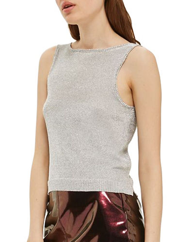 Topshop Metallic Yarn Knit Crop Top-SILVER-UK 10/US 6
