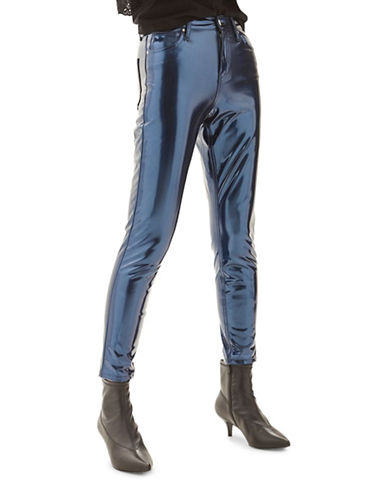 Topshop MOTO Vinyl Jamie Jeans 30-Inch Leg-BLUE-30X30