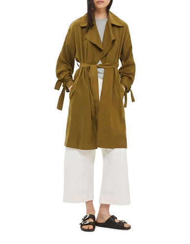 Topshop Duster Coat-OLIVE-UK 10/US 6