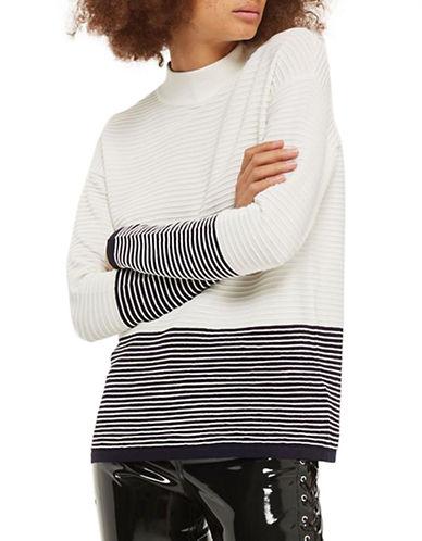 Topshop Colourblock Stripe Sweater-IVORY-UK 10/US 6