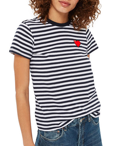 Topshop Heart Embroidered Tee by Tee & Cake-MULTI-UK 6/US 2