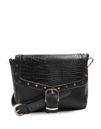 Topshop Romeo Crocodile Effect Crossbody Bag-BLACK-One Size