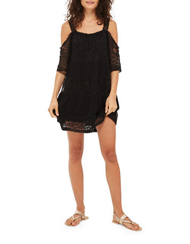 Topshop Lace Cold-Shoulder Smock Dress-BLACK-UK 10/US 6