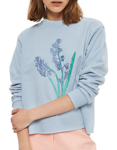 Topshop Bluebell Embroidered Sweatshirt by Tee and Cake-BLUE-UK 8/US 4
