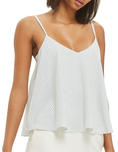 Topshop Stripe Rouleau Cami-BLUE-UK 12/US 8