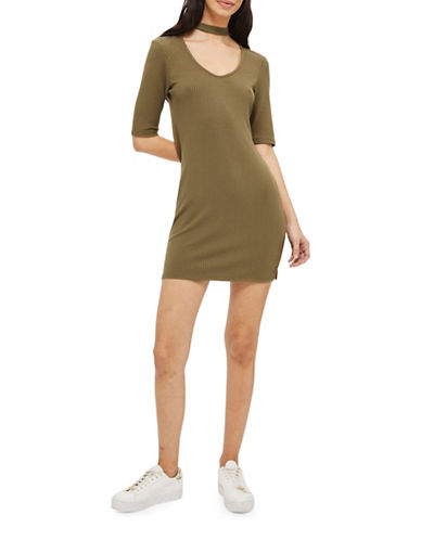 Topshop PETITE Ribbed Choker Dress-KHAKI-UK 10/US 6