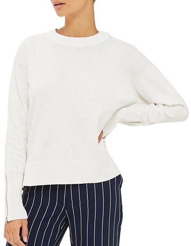Topshop Zip-Cuff Sweater-WHITE-UK 10/US 6