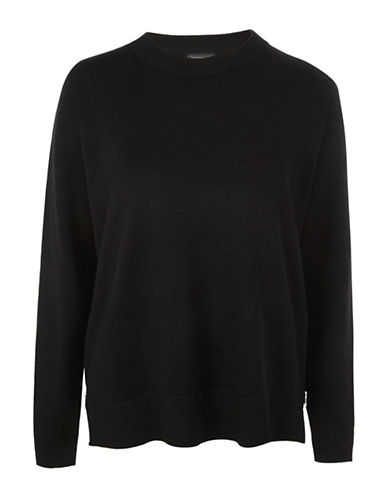 Topshop Zip-Hem Sweater-BLACK-UK 8/US 4