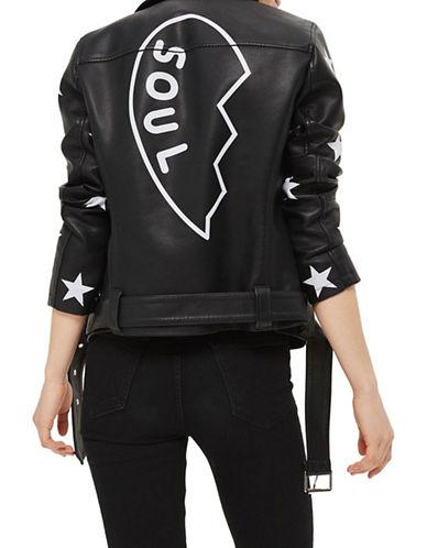 Topshop Soul Faux Leather Biker Jacket-BLACK-UK 6/US 2