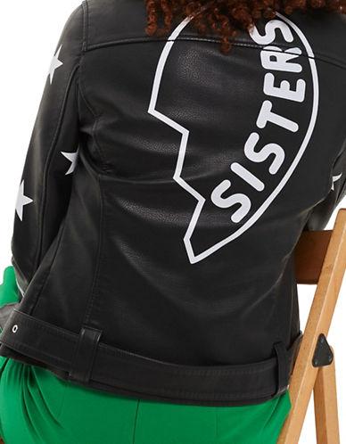Topshop Sisters Faux Leather Biker Jacket-BLACK-UK 6/US 2