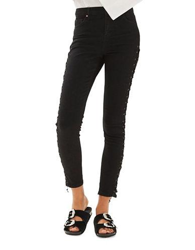 Topshop MOTO Lace-Up Jamie Jeans 34-Inch Leg-BLACK-28X34