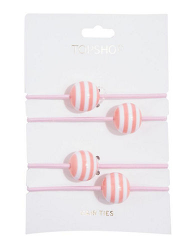 Topshop Striped Ball Hair Ties-PINK-One Size
