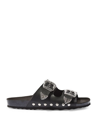 Topshop FALCON Buckle Sandals-BLACK-EU 38/US 7.5