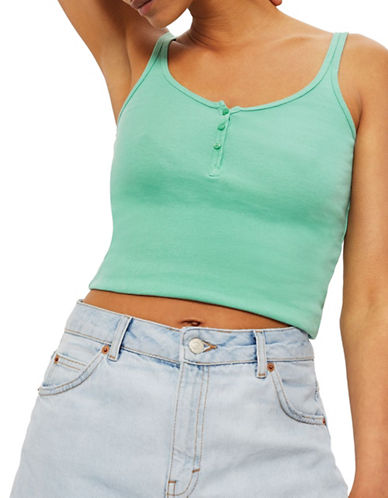Topshop Buttoned Tank Top-GREEN-UK 12/US 8
