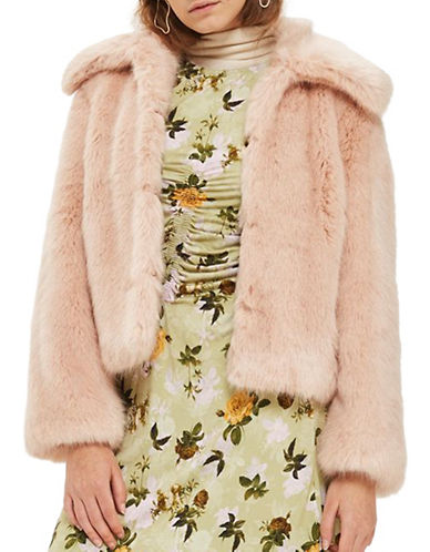 Topshop Faux Fur Coat-NUDE-UK 6/US 2