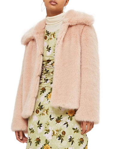 Topshop Claire Faux Fur Coat-NUDE-UK 6/US 2