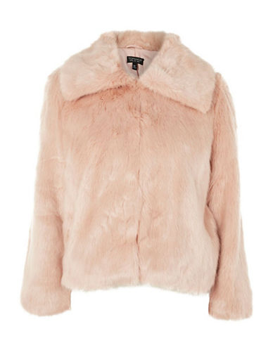 Topshop PETITE Faux Fur Coat-NUDE-UK 8/US 4
