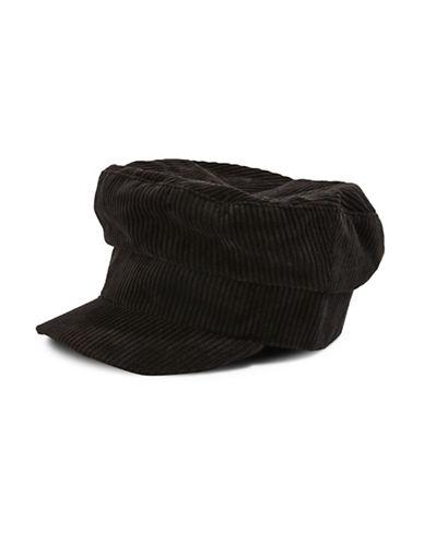 Topshop Corduroy Baker Boy Hat-BLACK-One Size