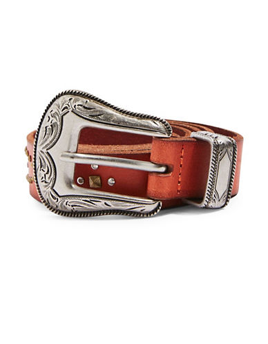 Topshop Slim Leather Western Studded Belt-RED-Small