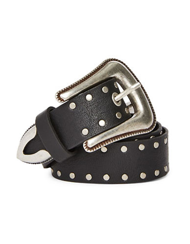 Topshop Double-Buckle Studded Belt-BLACK-Medium/Large