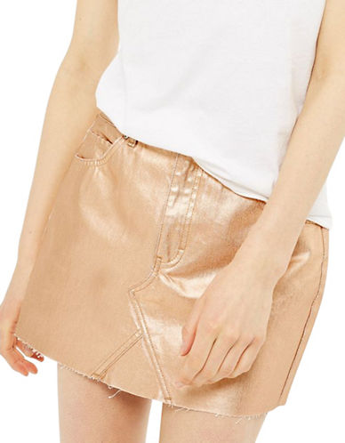 Topshop MOTO Metallic Skirt-ROSE GOLD-UK 14/US 10