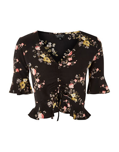 Topshop PETITE Trellis Floral-Printed Ruched Top-BLACK-UK 6/US 2