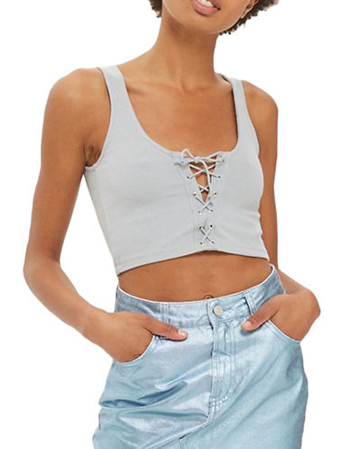 Topshop Lace-Up Bralet-LIGHT GREY-UK 16/US 12