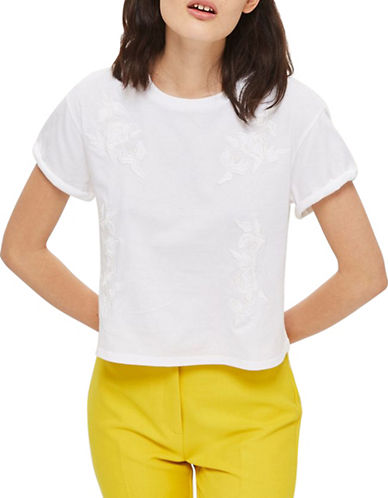Topshop Embroidered Tee-WHITE-UK 12/US 8