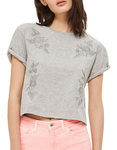 Topshop Embroidered Tee-GREY MARL-UK 12/US 8