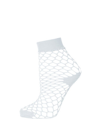 Topshop Fishnet Ankle Socks-LIGHT GREY-1