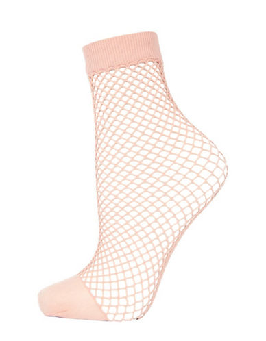 Topshop Fishnet Ankle Socks-NUDE-One Size