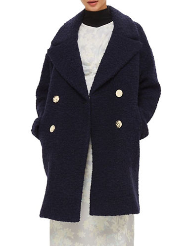 Topshop Alice Boucle Wool-Blend Coat-NAVY BLUE-X-Small