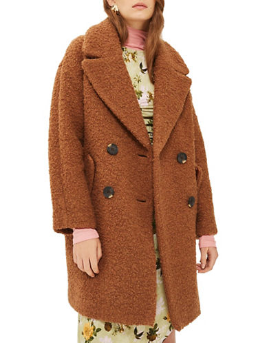 Topshop Alice Boucle Wool-Blend Coat-BROWN-Medium