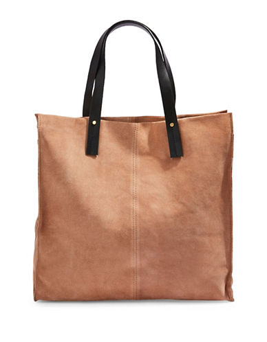 Topshop Leather Suede Shopper Bag-STONE-One Size