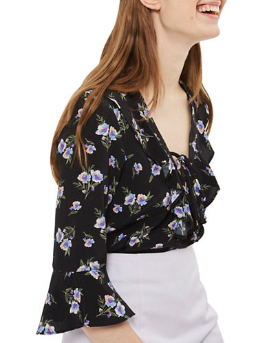 Topshop Floral-Printed Tie Blouse-BLACK-UK 10/US 6