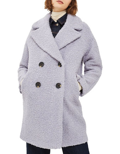 Topshop Alice Boucle Wool-Blend Coat-LIGHT GREY-Medium