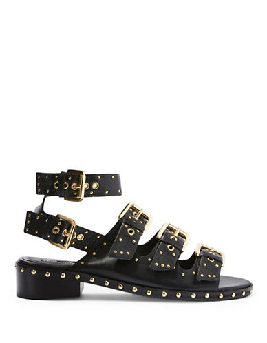 Topshop Frank Buckle Sandals-BLACK-EU 39/US 8.5