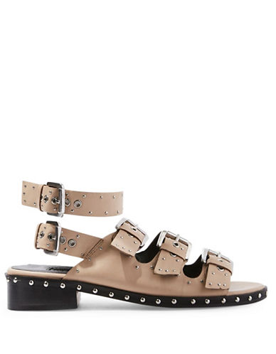 Topshop Frank Buckle Sandals-NUDE-EU 40/US 9.5