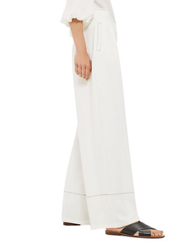 Topshop Topstitched Wide-Leg Trousers-IVORY-UK 10/US 6