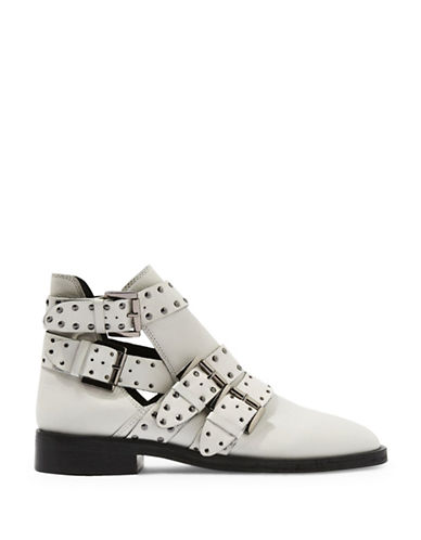 Topshop Ark Leather Studded Buckle Boots-WHITE-EU 39/US 8.5