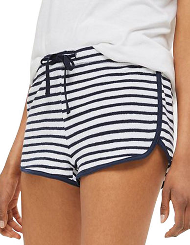 Topshop Stripe Towel Runner Shorts-NAVY BLUE-UK 6/US 2