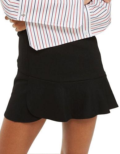 Topshop Panelled Flippy Mini Woven Skirt-BLACK-UK 14/US 10