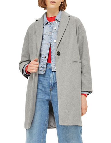 Topshop Relaxed Fit Topcoat-GREY-UK 12/US 8