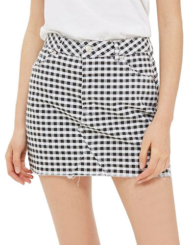 Topshop PETITE Gingham Shortline Skirt-MONOCHROME-UK 4/US 0